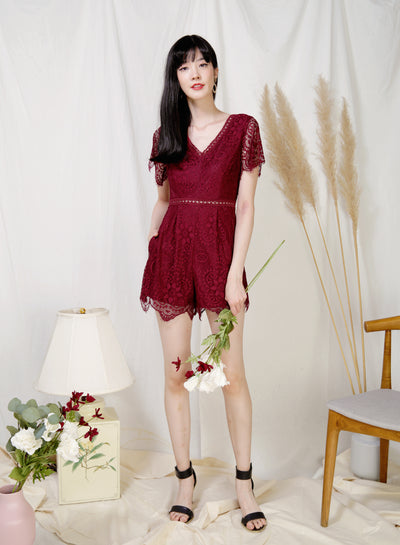 Mystic Eyelash Lace Hem Romper (Wine) at $ 44.50 only sold at And Well Dressed Online Fashion Store Singapore