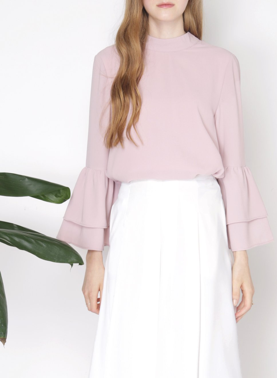 PONDER Double Tier Ruffle Sleeves Top (Mauve) - And Well Dressed