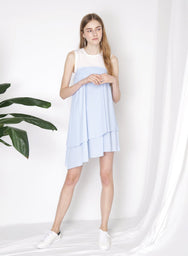 OBLIVION Contrast Asymmetric Dress (Sky) at $ 24.00 only sold at And Well Dressed Online Fashion Store Singapore