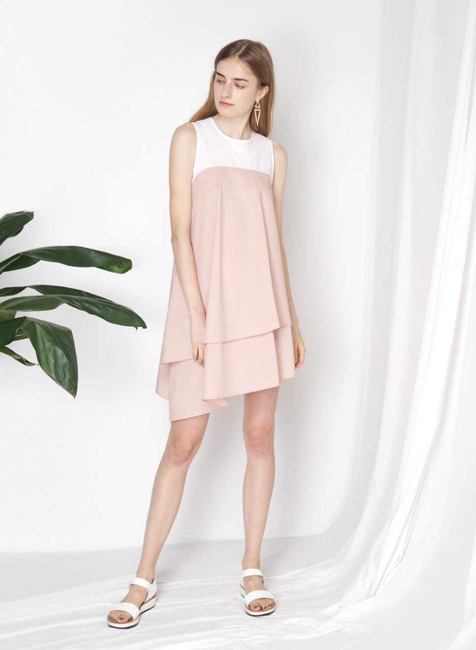 OBLIVION Contrast Asymmetric Dress (Blush) at $24.00 only sold at And Well Dressed Online Fashion Store Singapore