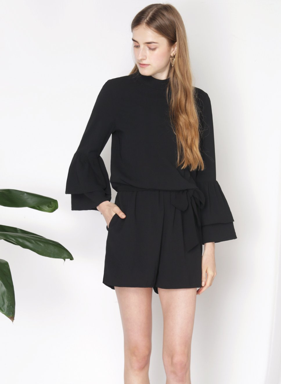 STELLAR Double Tier Ruffle Sleeves Romper (Black) - And Well Dressed