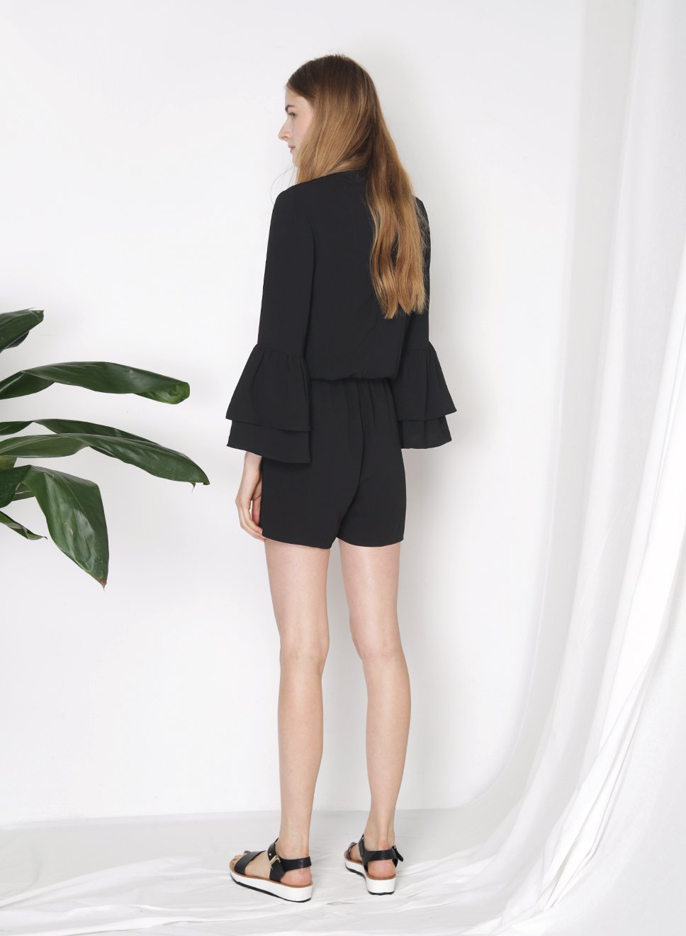 STELLAR Double Tier Ruffle Sleeves Romper (Black) at $ 24.00 only sold at And Well Dressed Online Fashion Store Singapore
