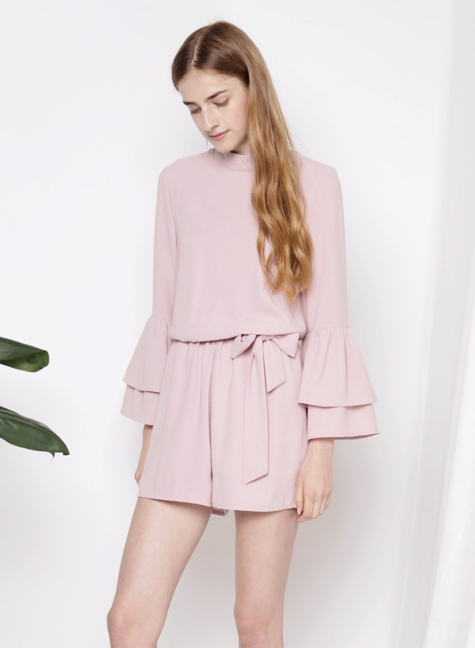 STELLAR Double Tier Ruffle Sleeves Romper (Mauve) - And Well Dressed
