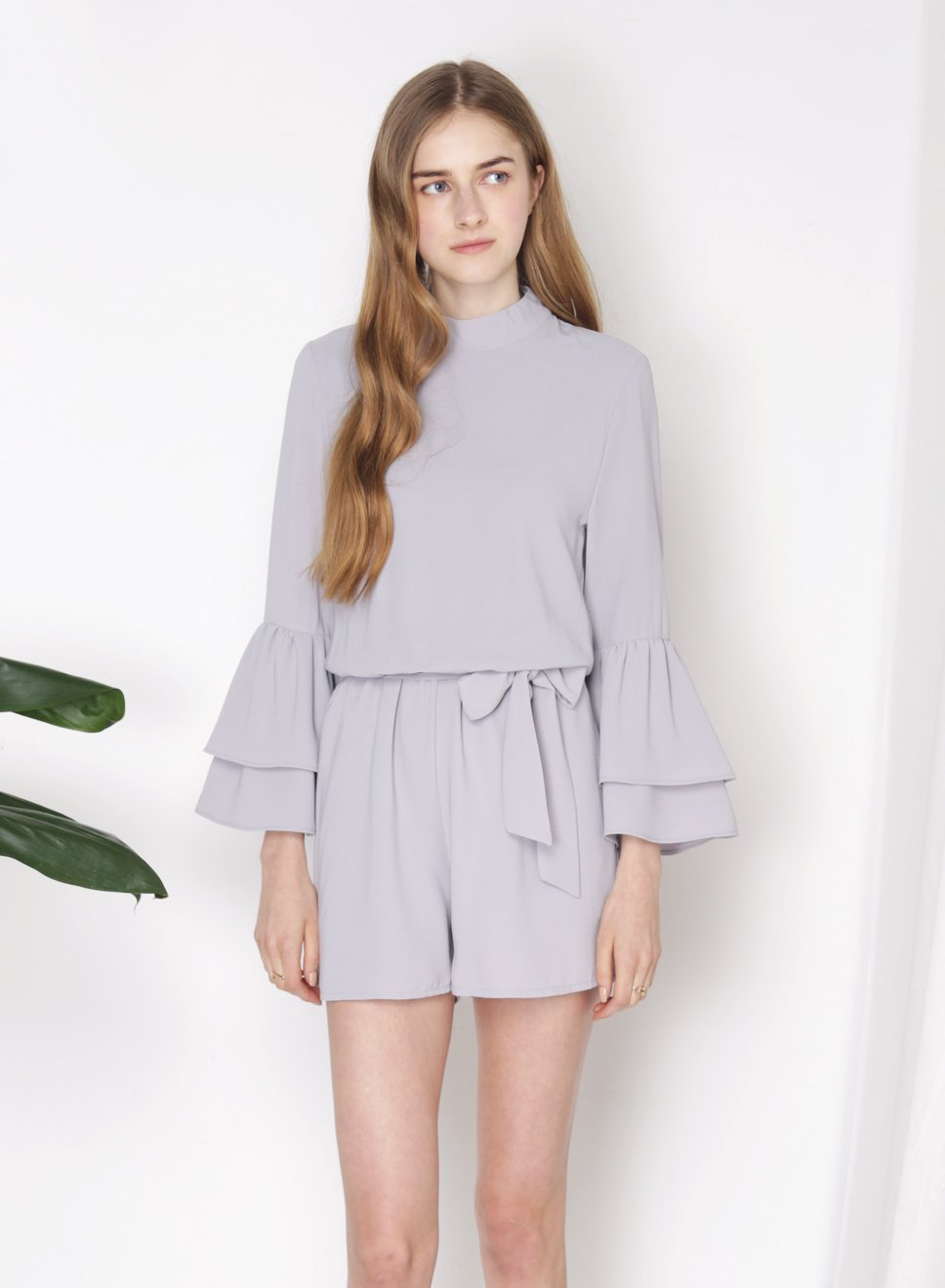 STELLAR Double Tier Ruffle Sleeves Romper (Lilac Grey) at $ 24.00 only sold at And Well Dressed Online Fashion Store Singapore