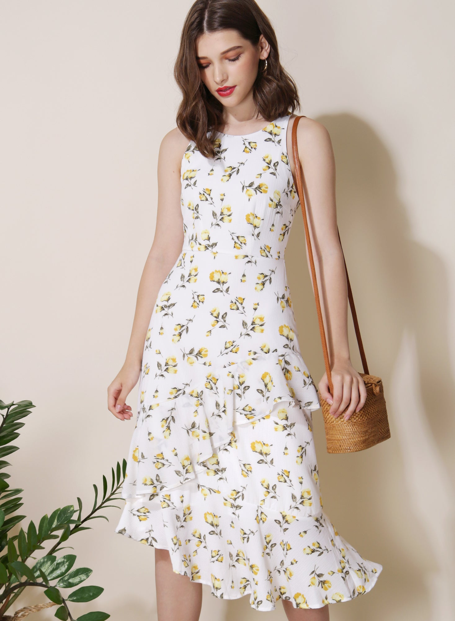 Getaway Ruffled Floral Dress (White) at $ 43.50 only sold at And Well Dressed Online Fashion Store Singapore
