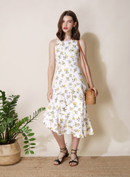 Getaway Ruffled Floral Dress (White)