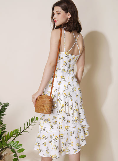 Getaway Ruffled Floral Dress (White) - And Well Dressed