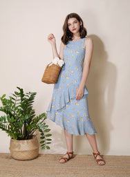 Getaway Ruffled Floral Dress (Sky) at $ 43.50 only sold at And Well Dressed Online Fashion Store Singapore
