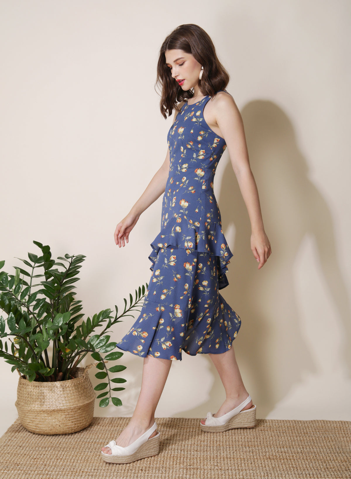 Getaway Ruffled Floral Dress (Azure) at $ 43.50 only sold at And Well Dressed Online Fashion Store Singapore