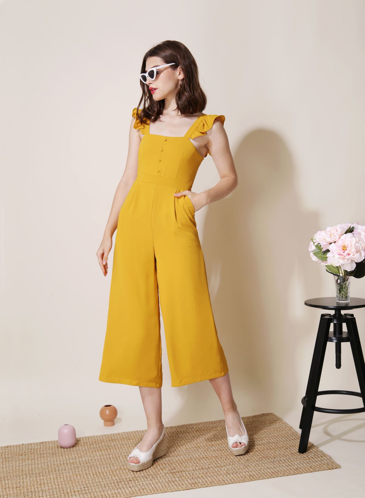 Cruise Frill Straps Jumpsuit (Marigold) at $ 44.50 only sold at And Well Dressed Online Fashion Store Singapore