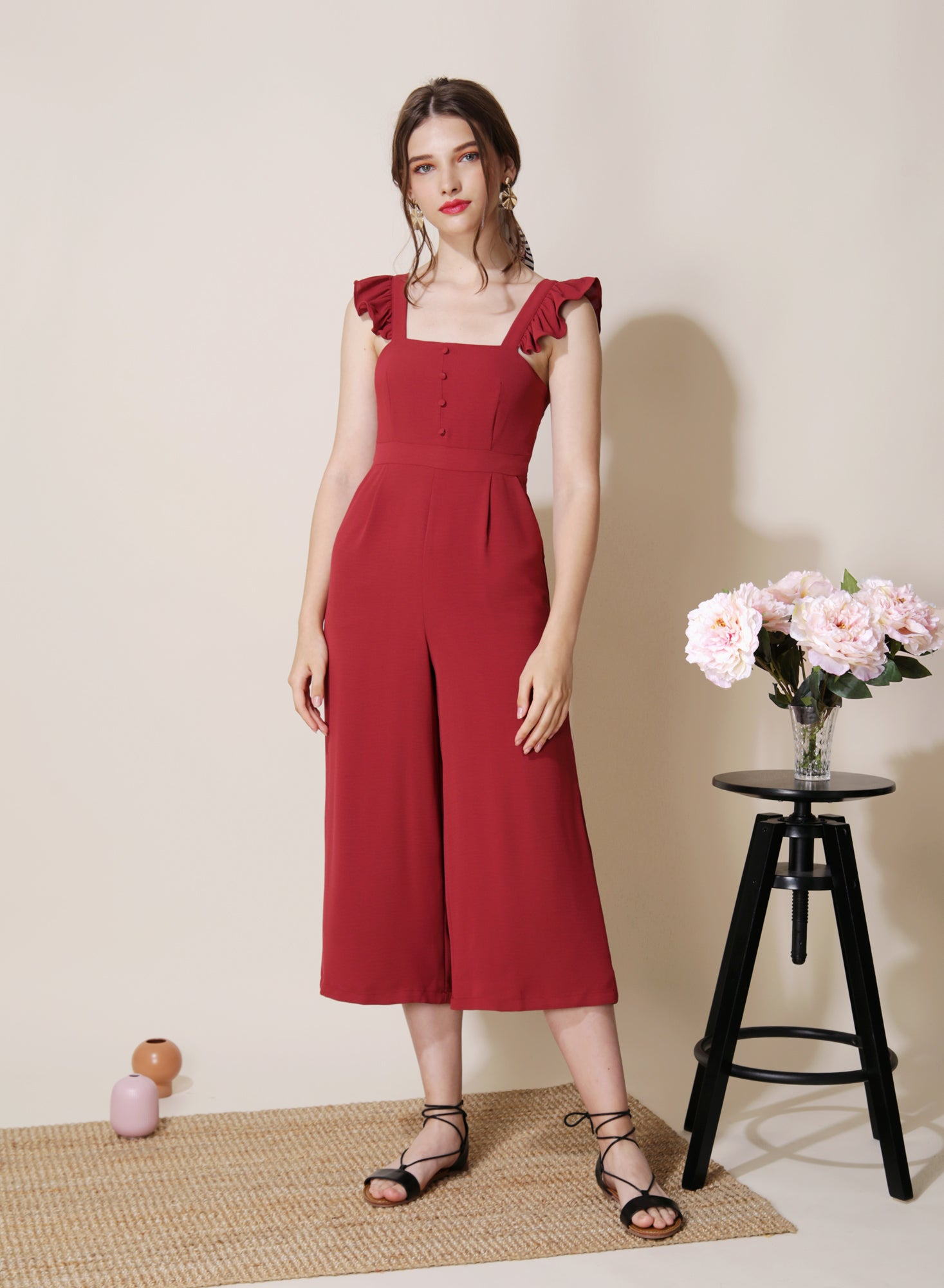 Cruise Frill Straps Jumpsuit (Cherry) at $ 44.50 only sold at And Well Dressed Online Fashion Store Singapore