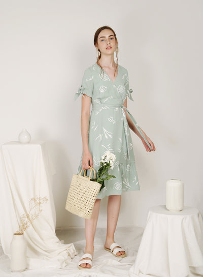 Fairground Ribbon Tie Sleeves Dress (Sage) at $ 48.00 only sold at And Well Dressed Online Fashion Store Singapore