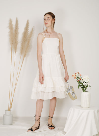 Scenic Ruffle Tiers Midi Dress (White)