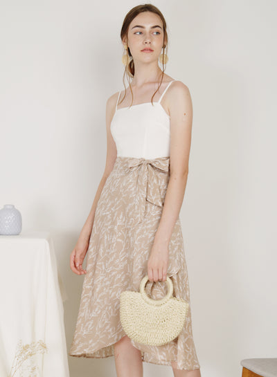 Poetic Contrast Wrap Hem Dress (Pecan) at $ 45.00 only sold at And Well Dressed Online Fashion Store Singapore