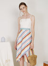 Poetic Contrast Wrap Hem Dress (Rainbow)