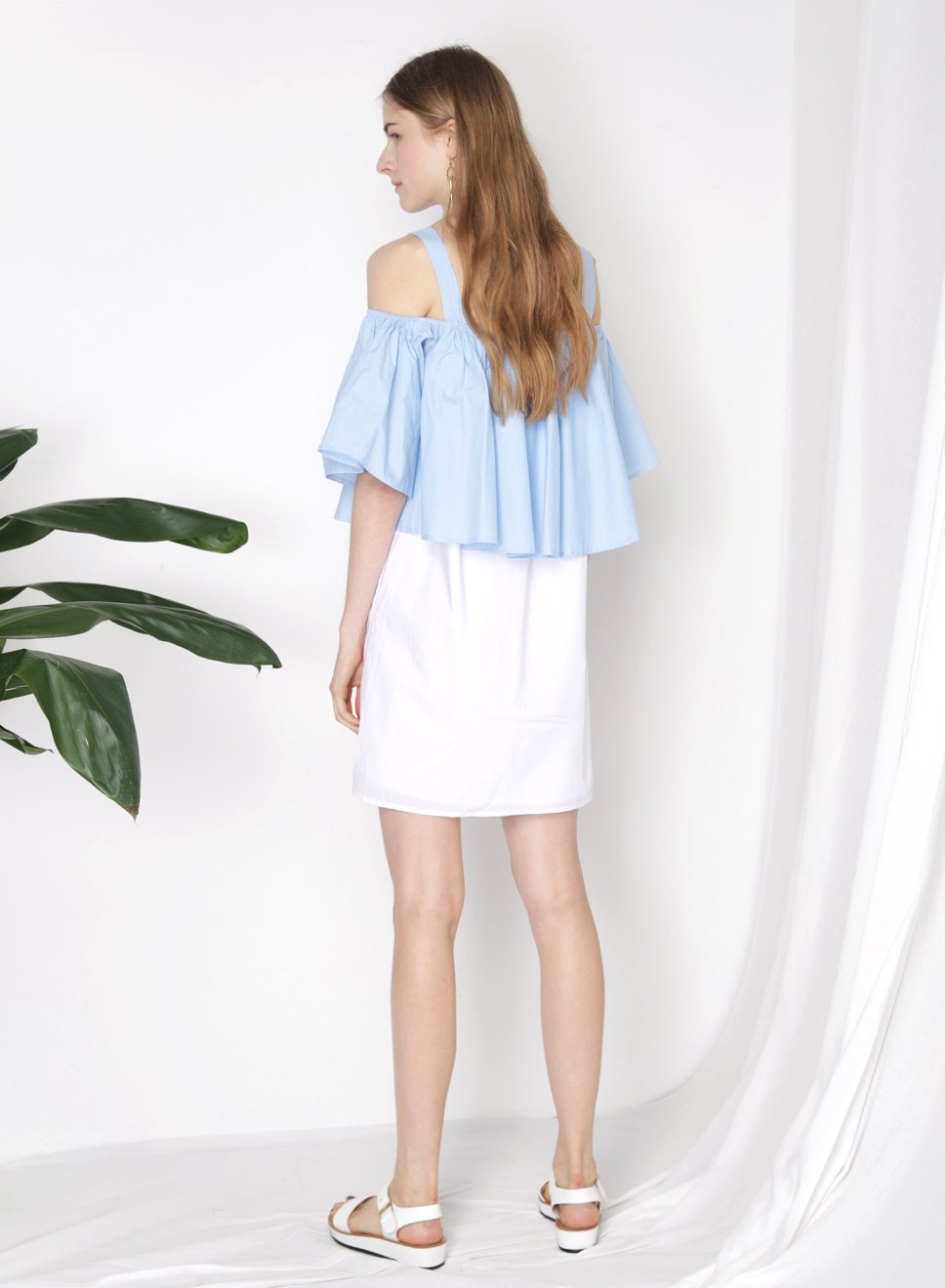 SMITTEN Contrast Cold Shoulder Dress (Blue) at $ 22.00 only sold at And Well Dressed Online Fashion Store Singapore