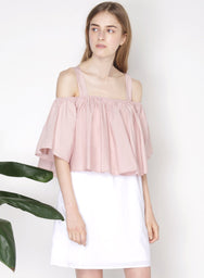 SMITTEN Contrast Cold Shoulder Dress (Blush) at $ 22.00 only sold at And Well Dressed Online Fashion Store Singapore