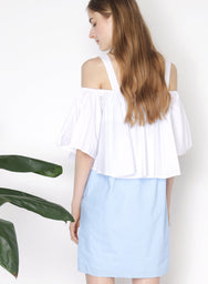 SMITTEN Contrast Cold Shoulder Dress (White) at $ 22.00 only sold at And Well Dressed Online Fashion Store Singapore