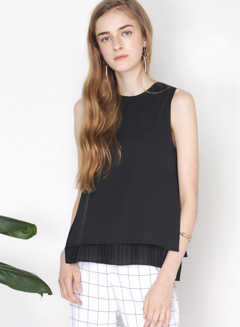 COLLIDE overlay pleats top (Black) - And Well Dressed