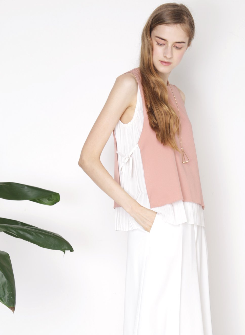 COLLIDE overlay pleats top (Rose) - And Well Dressed