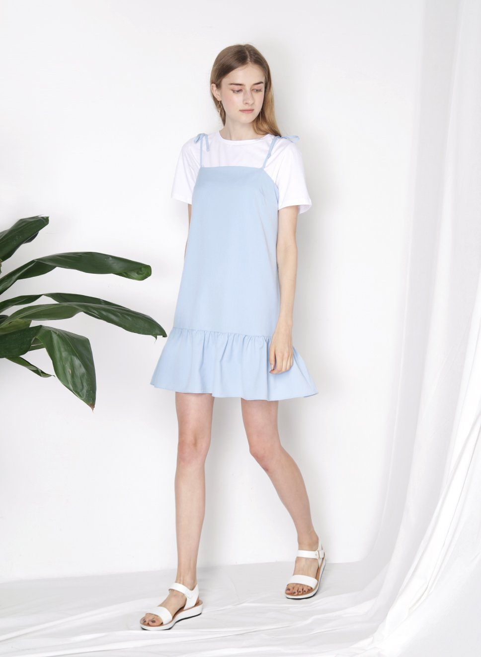 MOMENT Ruffle Hem Dress (Sky) at $ 23.50 only sold at And Well Dressed Online Fashion Store Singapore