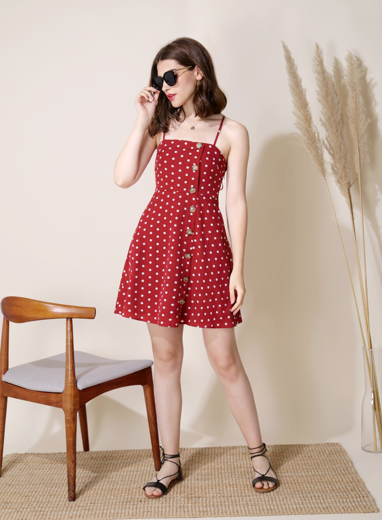 Leisure Polka Dot Flare Dress (Red) at $ 34.00 only sold at And Well Dressed Online Fashion Store Singapore