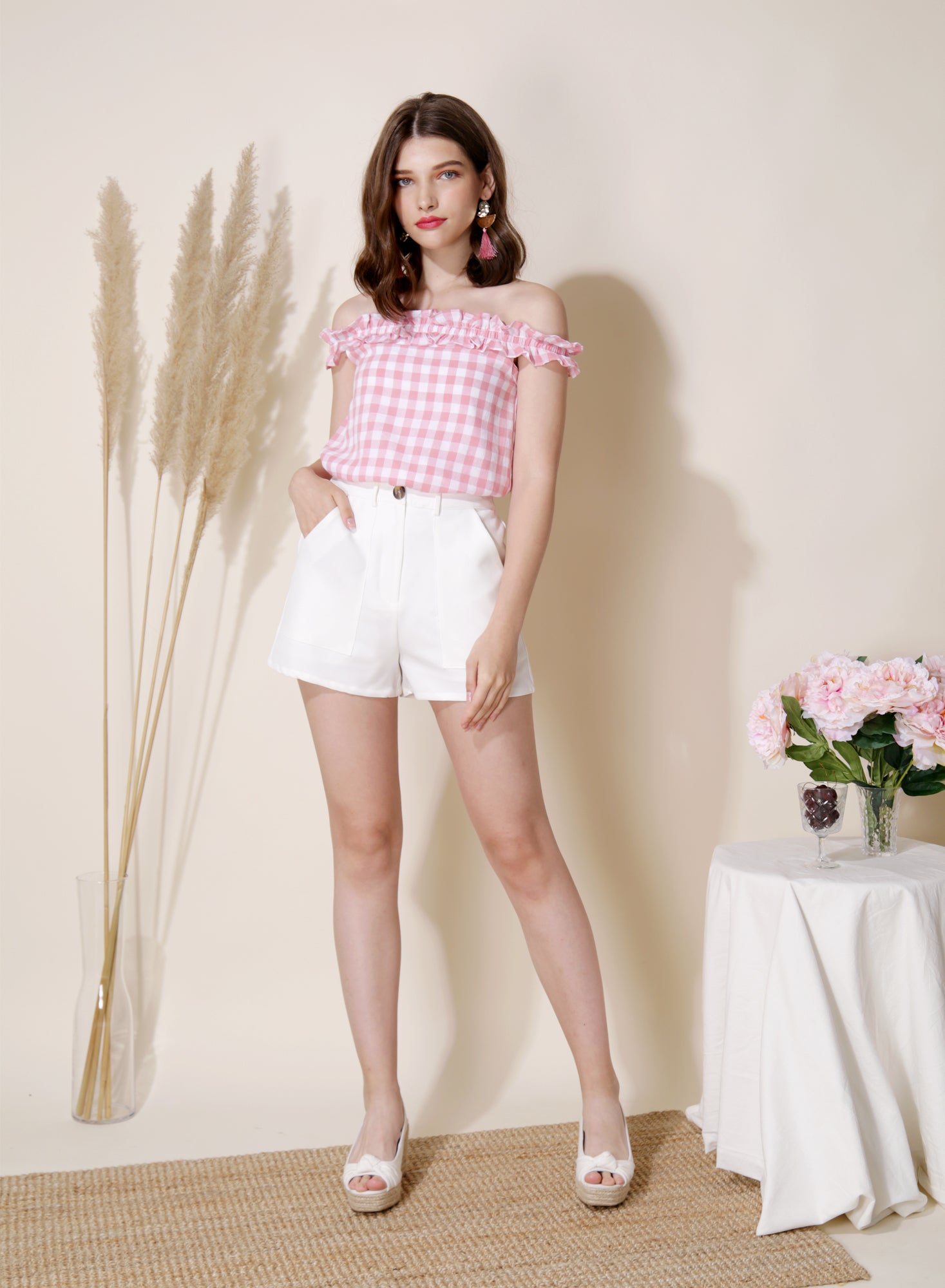 Trove Pocket Front Shorts (White) at $ 34.50 only sold at And Well Dressed Online Fashion Store Singapore