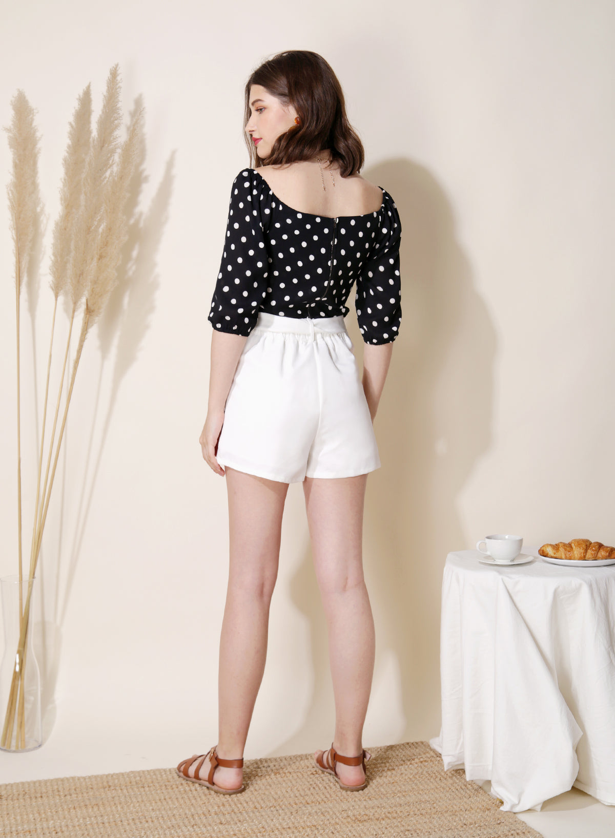 Amour Polka Dot Wrap Top (Black) at $ 35.50 only sold at And Well Dressed Online Fashion Store Singapore