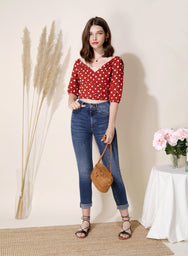 Amour Polka Dot Wrap Top (Red) at $ 35.50 only sold at And Well Dressed Online Fashion Store Singapore