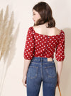 Amour Polka Dot Wrap Top (Red) - And Well Dressed