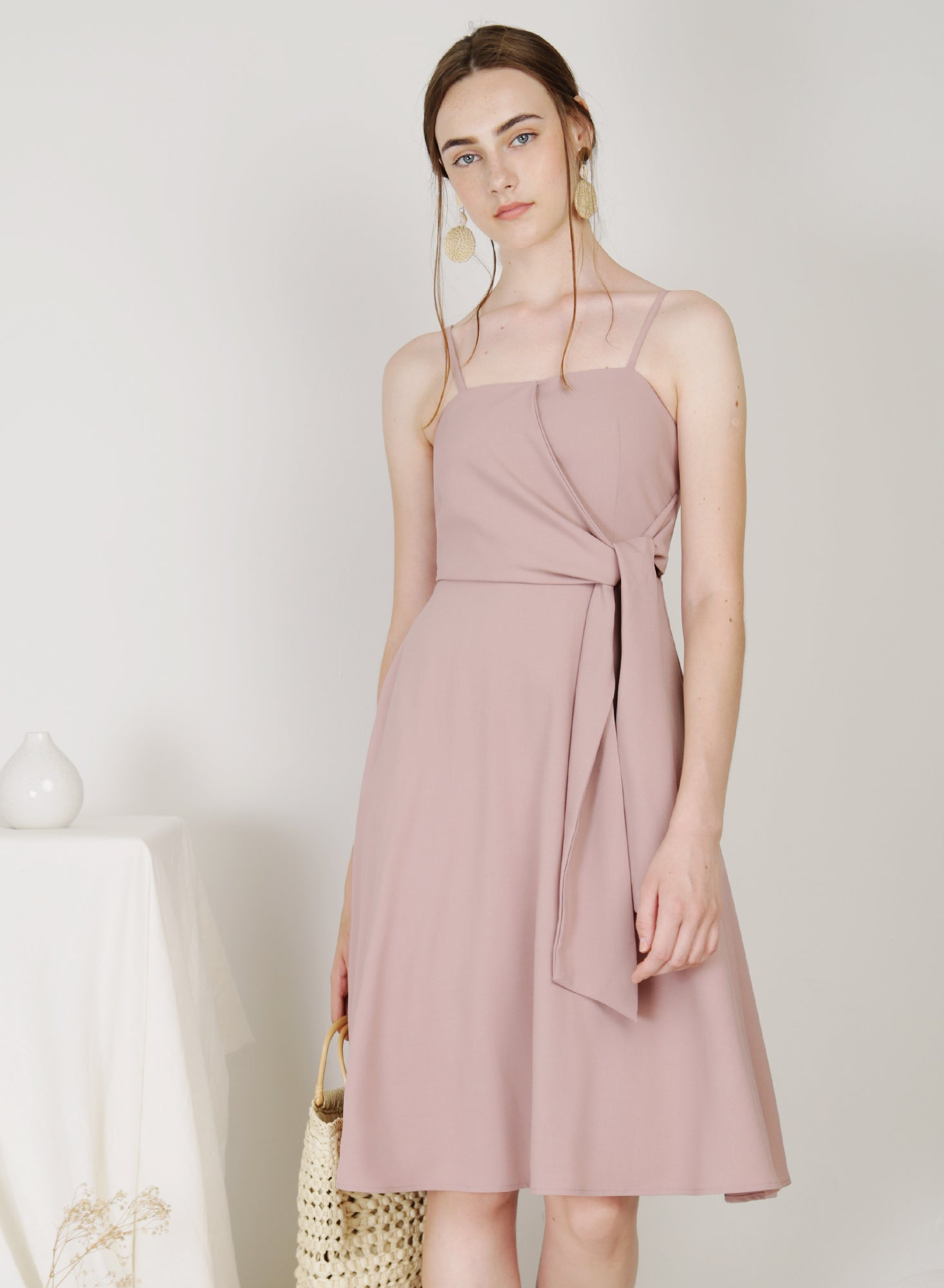 Bella Tie Front Midi Dress (Mauve)