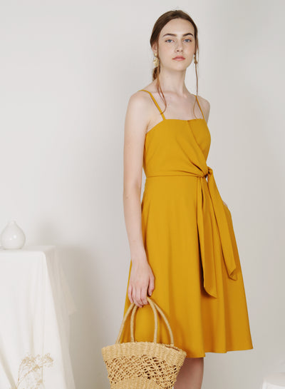 Bella Tie Front Midi Dress (Honey)