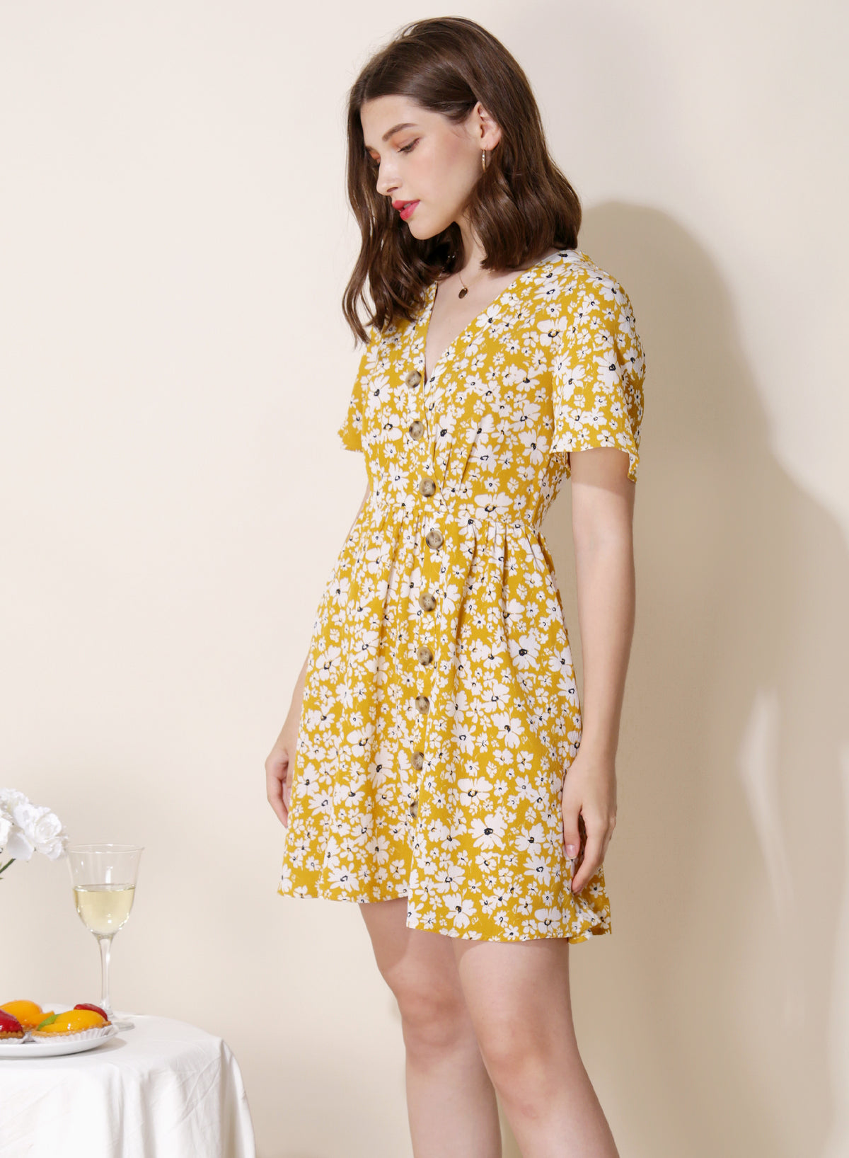 Riviera Button Front Floral Dress (Yellow) at $ 43.50 only sold at And Well Dressed Online Fashion Store Singapore