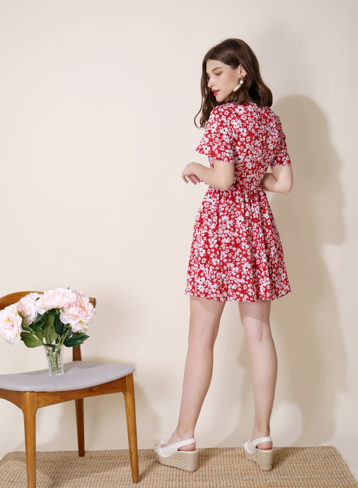 Riviera Button Front Floral Dress (Red) at $ 43.50 only sold at And Well Dressed Online Fashion Store Singapore