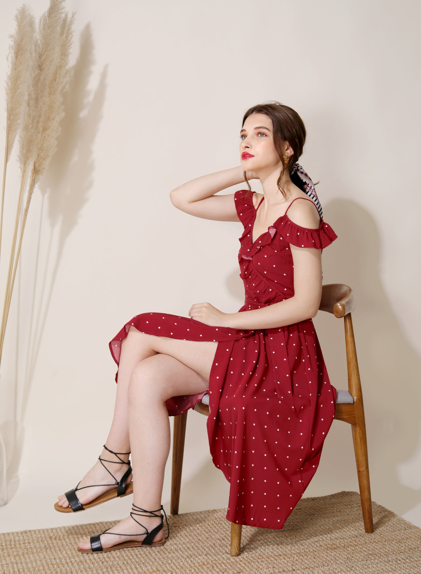 Holiday Cold Shoulder Midi Dress (Red Polka) at $ 44.50 only sold at And Well Dressed Online Fashion Store Singapore