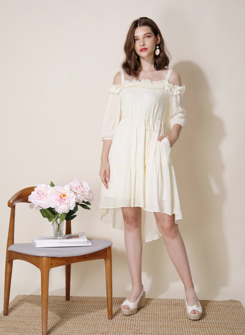 Veranda Swiss Dot Trapeze Dress (Cream) at $ 31.50 only sold at And Well Dressed Online Fashion Store Singapore