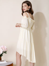 Veranda Swiss Dot Trapeze Dress (Cream) at $ 42.50 only sold at And Well Dressed Online Fashion Store Singapore