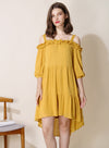 Veranda Swiss Dot Trapeze Dress (Honey) - And Well Dressed