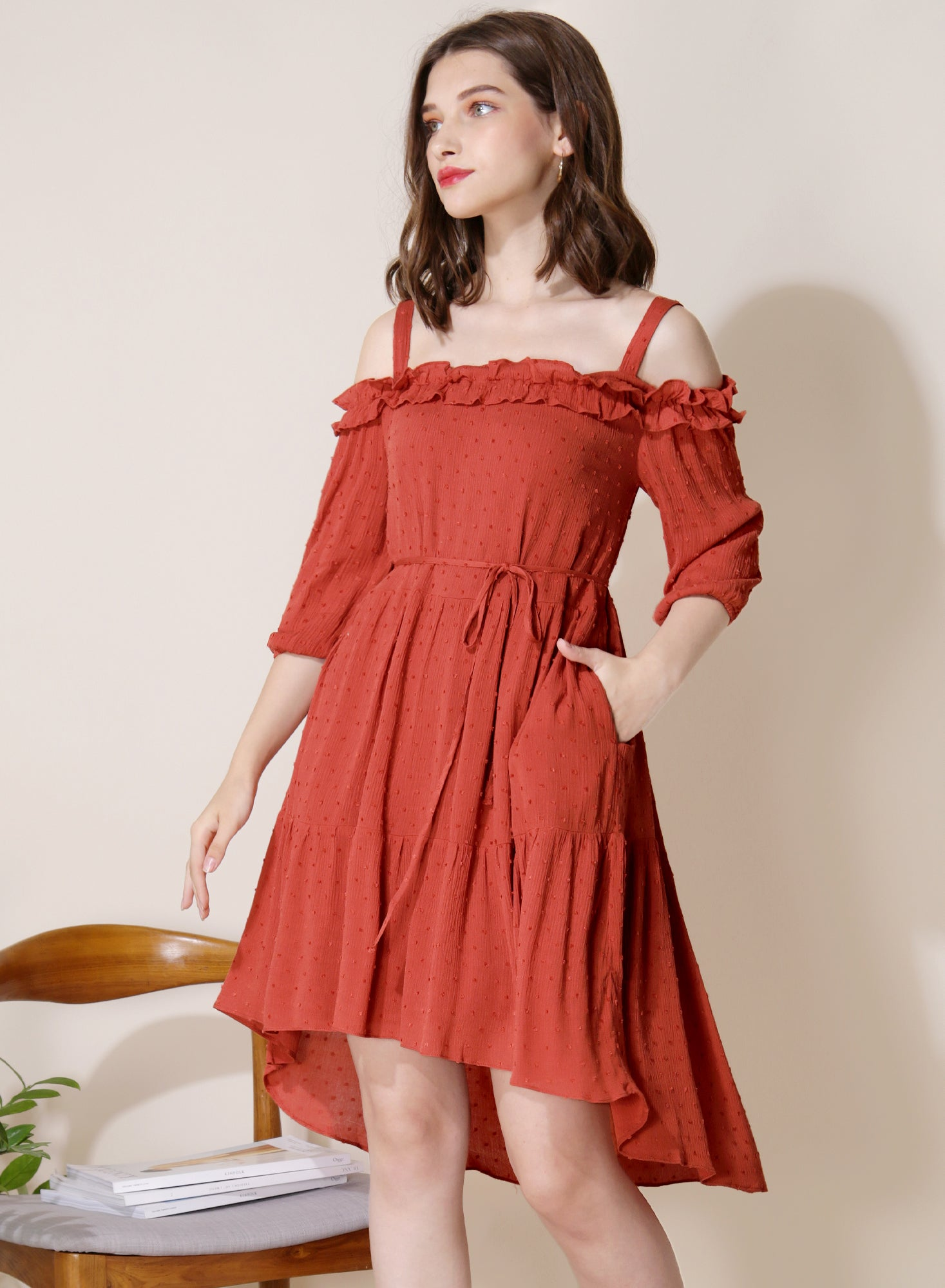 Veranda Swiss Dot Trapeze Dress (Rust) - And Well Dressed