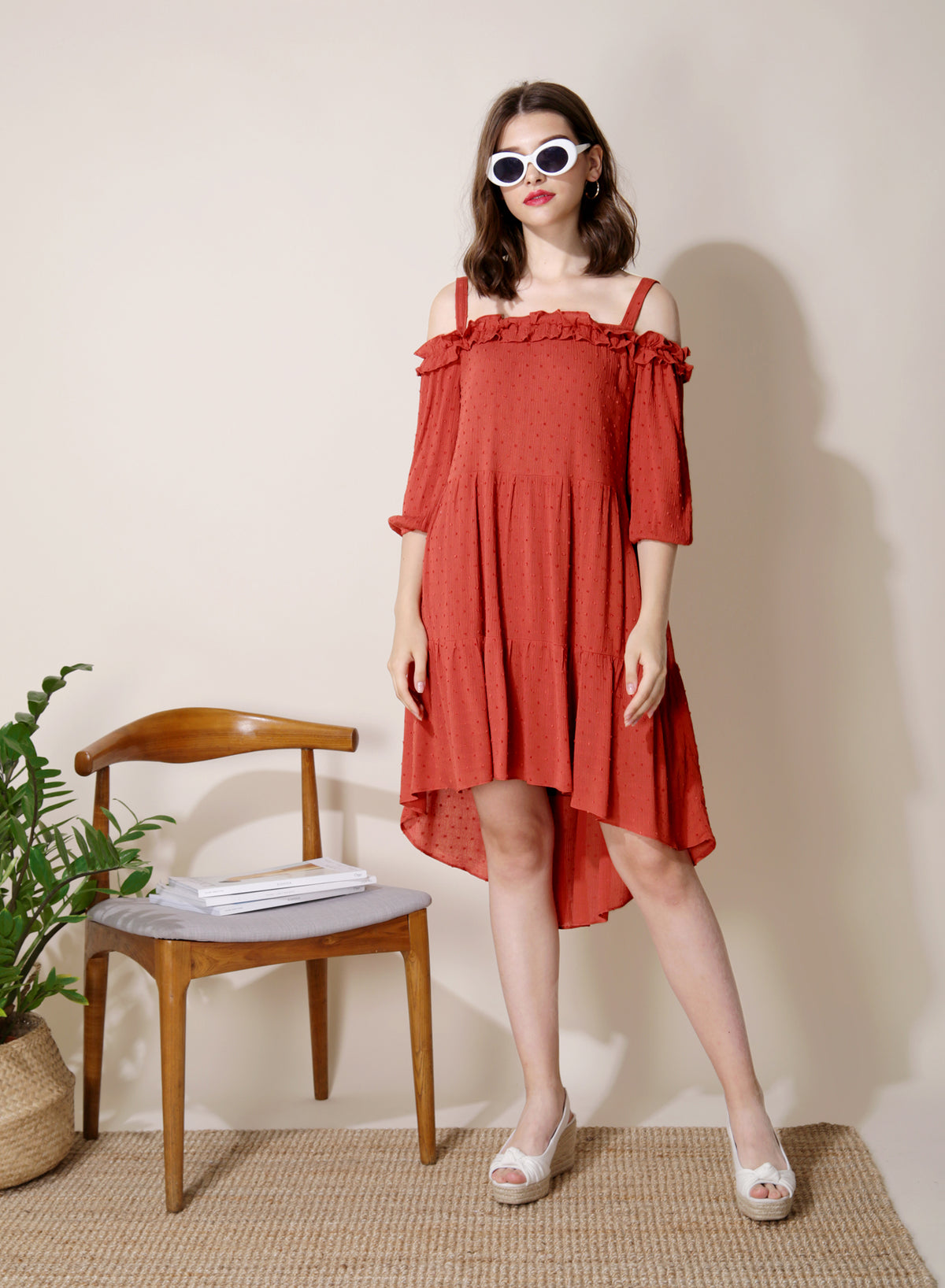 Veranda Swiss Dot Trapeze Dress (Rust) at $ 42.50 only sold at And Well Dressed Online Fashion Store Singapore