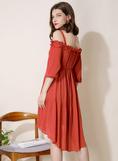 Veranda Swiss Dot Trapeze Dress (Rust) at $ 29.50 only sold at And Well Dressed Online Fashion Store Singapore