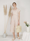 Abode Wrap Round Linen Jumpsuit (Stripes)
