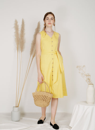 Haven Button Down Linen Dress (Sunshine)