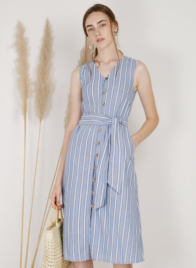 Haven Button Down Linen Dress (Stripes)
