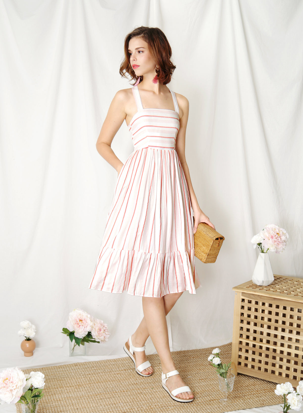 Fable Cross Back Midi Dress (Pink Stripes) at $ 43.50 only sold at And Well Dressed Online Fashion Store Singapore
