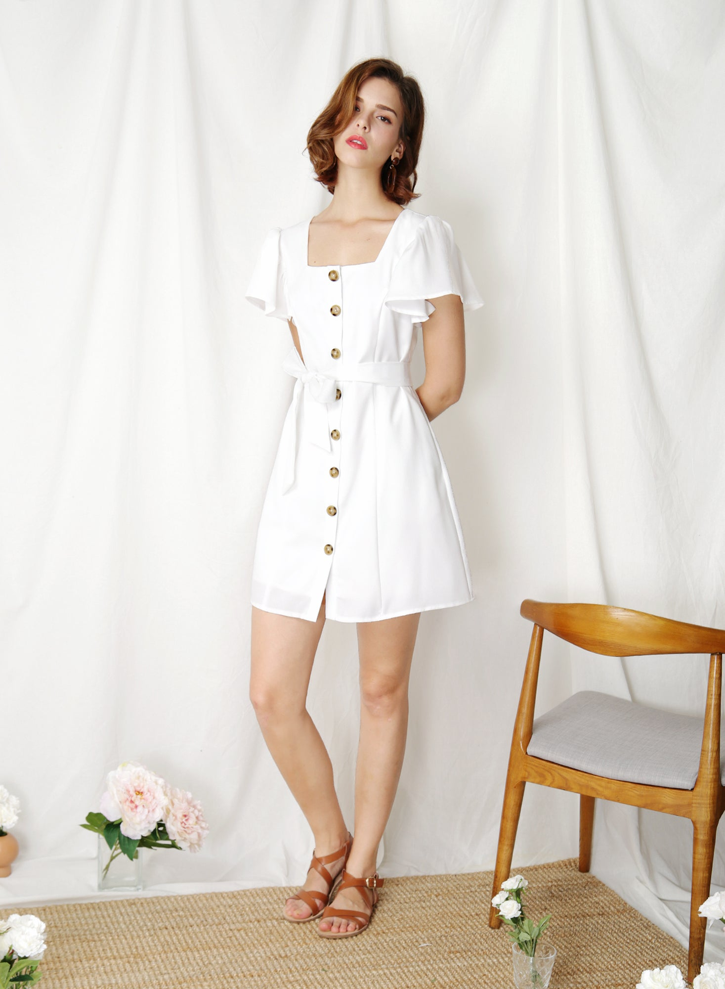 Token Square Neck Button Down Dress (White) at $ 43.50 only sold at And Well Dressed Online Fashion Store Singapore