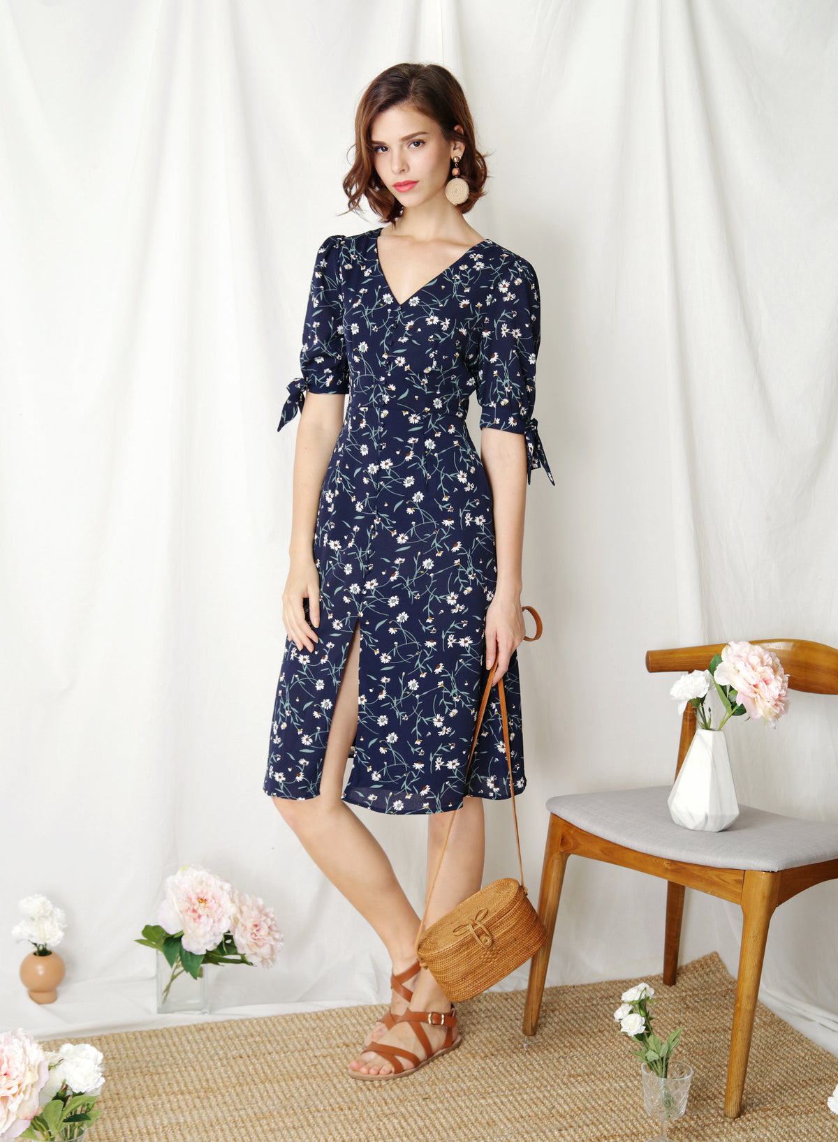 Liberty Tie Sleeves Midi Dress (Navy Floral)