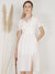 Charmer Puff Sleeves Button Front Dress (White)