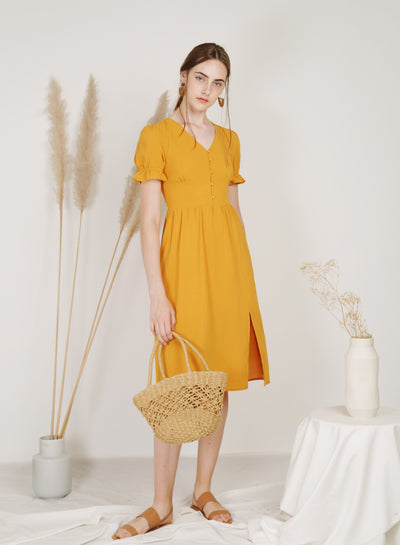Charmer Puff Sleeves Button Front Dress (Mango)