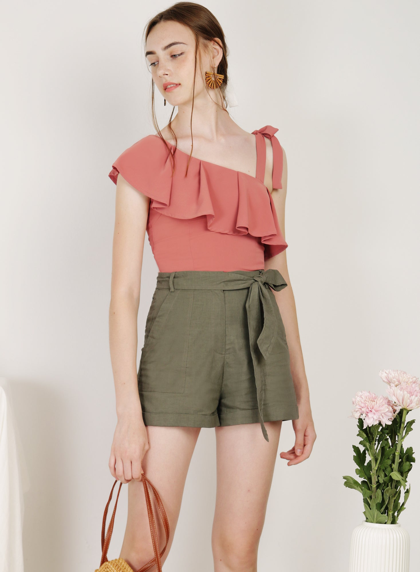 Admire Ribbon Tie Ruffle Top (Rose)